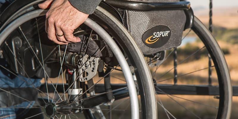 elderly man on a wheelchair