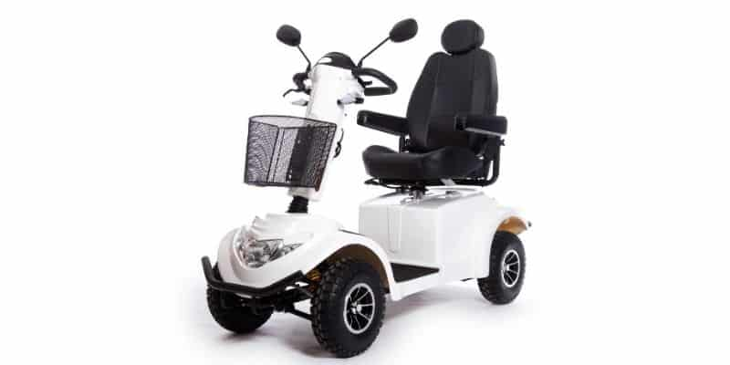 White mobility scooter on white background