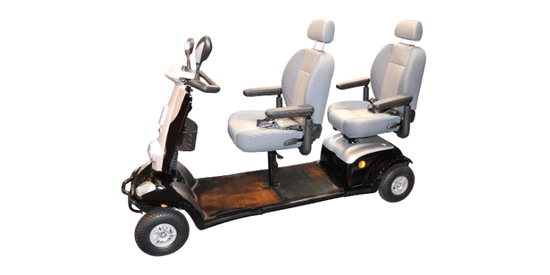 Mobility scooter on white background