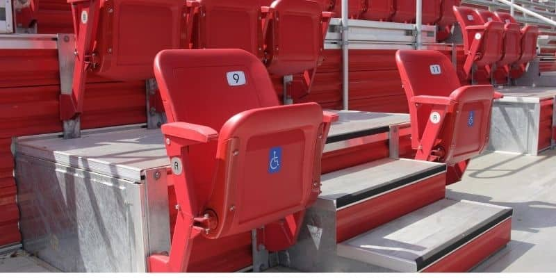 Wheelchair companion seat in a stadium