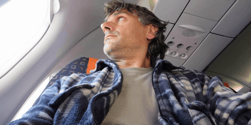Man inside a plane