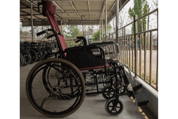Red reclining Wheelchair with Headrest
