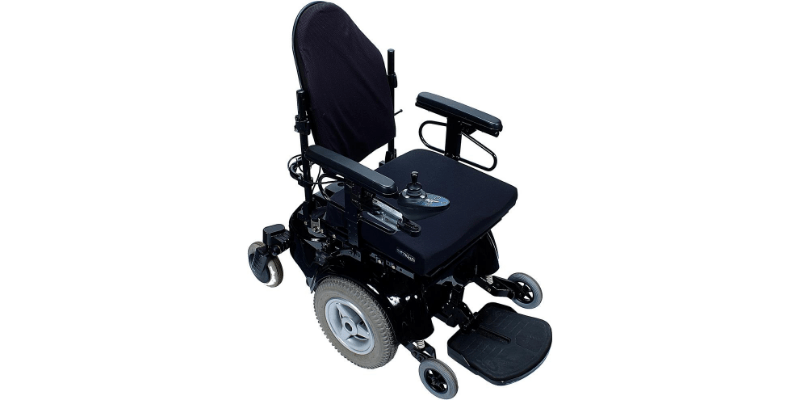 Electric wheelchair on white background