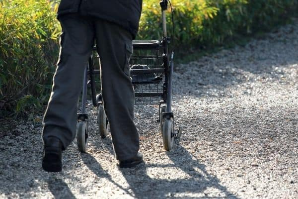 Person walking with rollator
