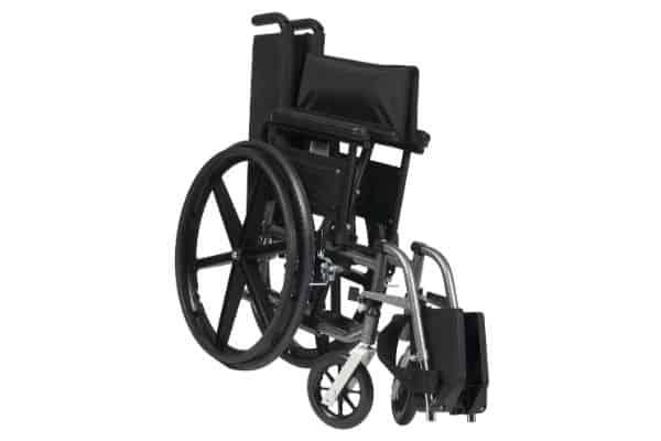 Folded wheelchair on white background