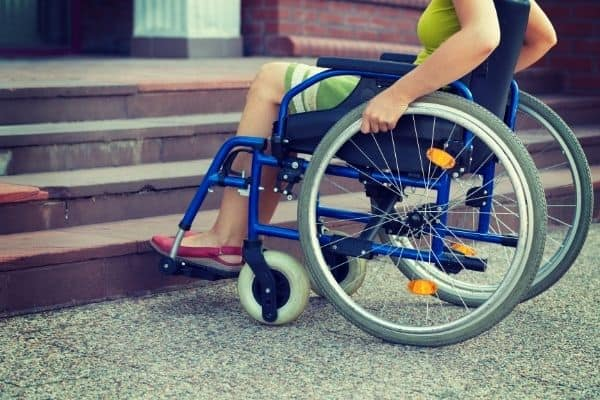 Person on wheelchair near the stairs