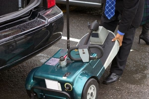 Loading portable mobility scooter in the car