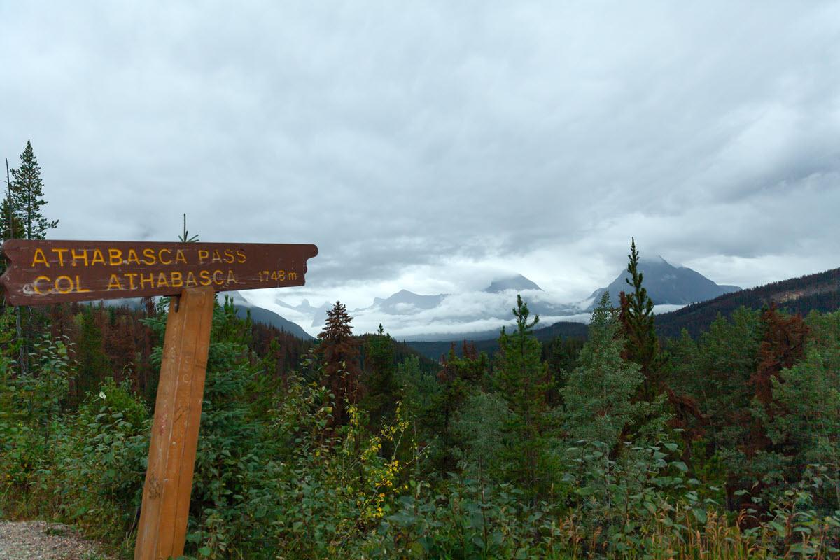 Sign indicating Athabasca Pass, Alberta, Canada