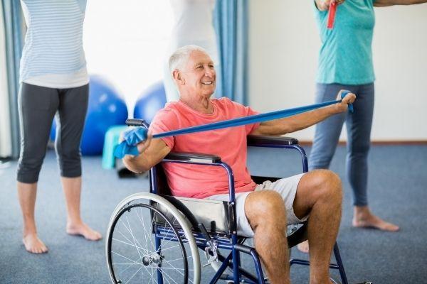 Elderly people doing exercises for seniors