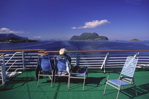 Elderly people on a cruise ship