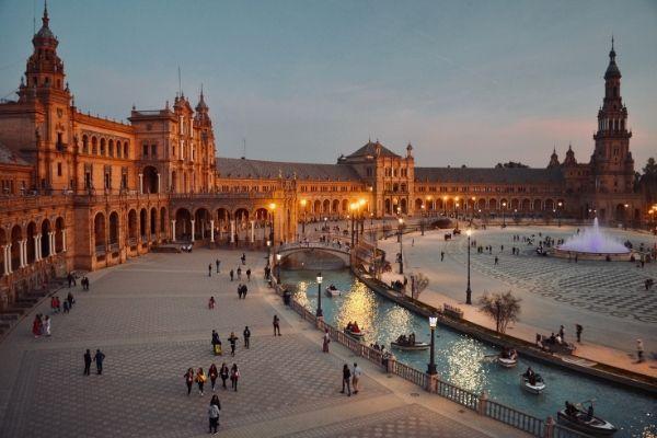 Nighttime in Seville Spain